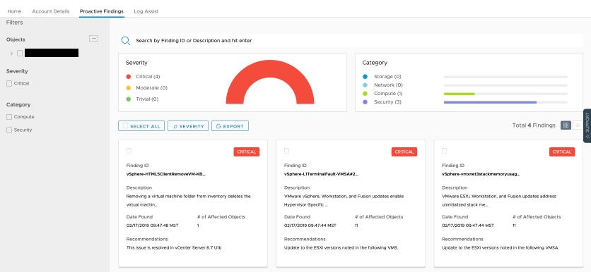 VMware Skyline Proactive Findings tab